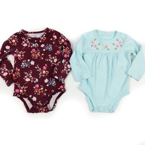 Carters Girls Long Sleeve Floral Bodysuit 24 Month